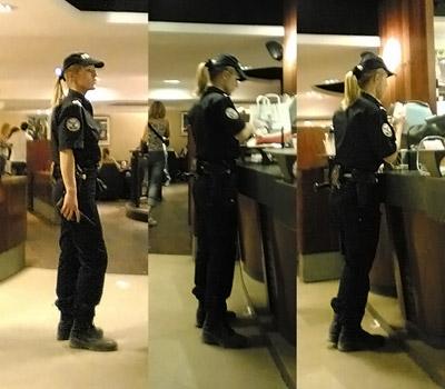 police girl au McDo – photographié avec un mobile